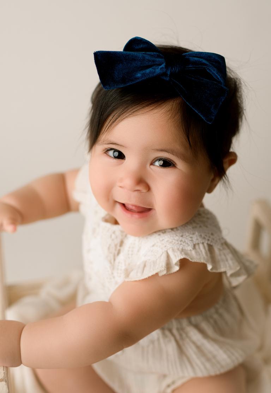Asian Baby in Studio Posing For Newborn Photographer Tacoma WA